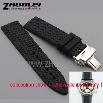 23mm black brown rubber watchband for chopard watch strap with stainless steel butterfly buckle waterproof bracelet