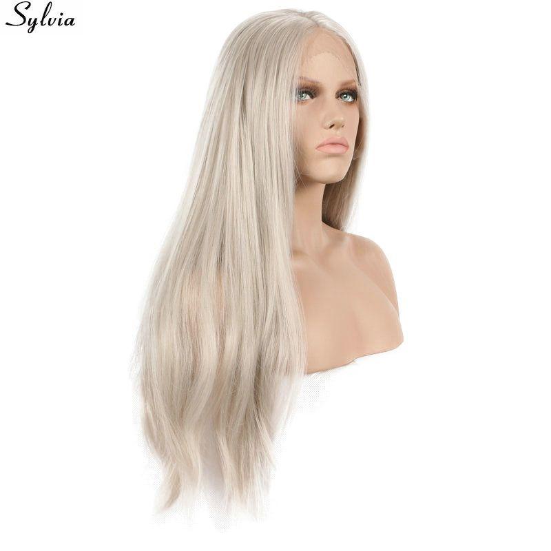 Длинные светлые прямые парик Синтетические волосы на кружеве химическое Ash платиновый блонд бесклеевой руки связали термостойкие Волокно ...
