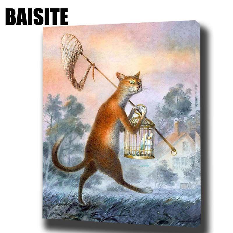 Baisite DIY обрамлении картина маслом по номерам фотографии животных холст картины для Гостиная стены Книги по искусству Домашний Декор E724
