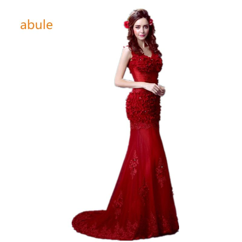 abule 2017 summer party evening dresses Long dress Vestido de Festa mermaid beading gown sexy V-neck lace up free shipping