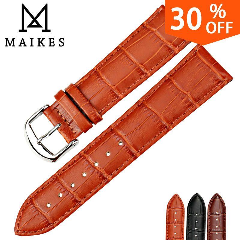 MAIKES HQ bracelets de montre bracelet en cuir véritable accessoires de montre 16mm 18mm 20mm 22mm 24mm hommes et femmes bracelet de montre marron pour Casio