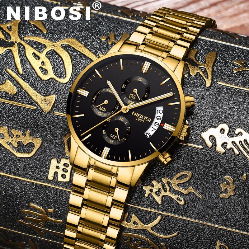 NIBOSI étanche affaires montres hommes de luxe marque Quartz montre militaire en cuir en acier montre pour homme relogio masculino