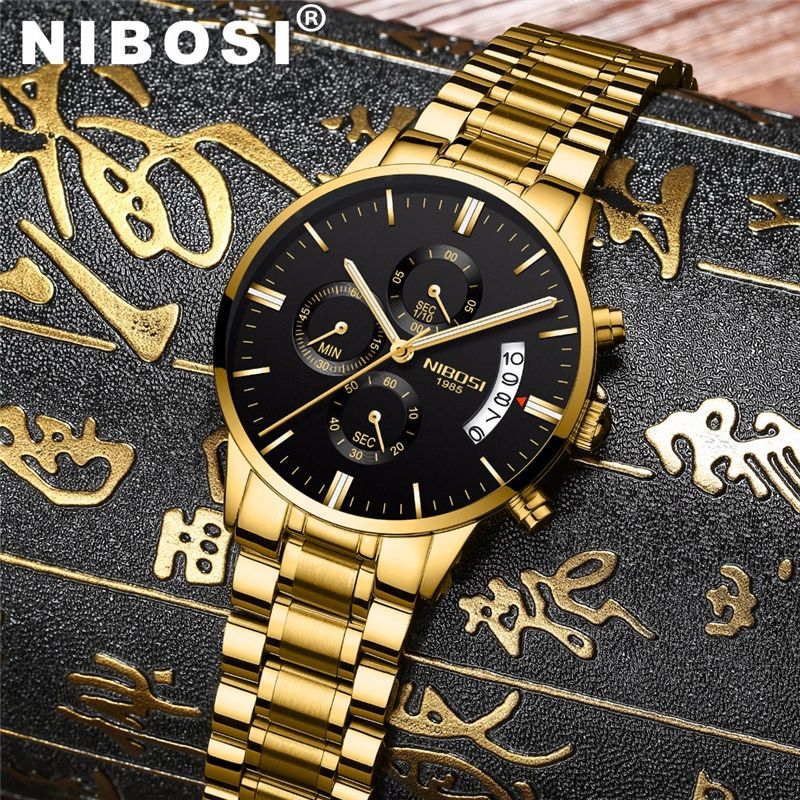 NIBOSI Waterproof Business Watches Men Luxury Brand Quartz Military Watch Leather Steel Men's Wristwatch relogio masculino