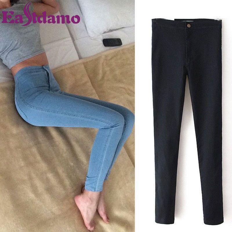 Eastdamo Slim Jeans pour femmes Skinny taille haute Jeans femme bleu Denim crayon pantalon Stretch taille femmes Jeans pantalon grande taille
