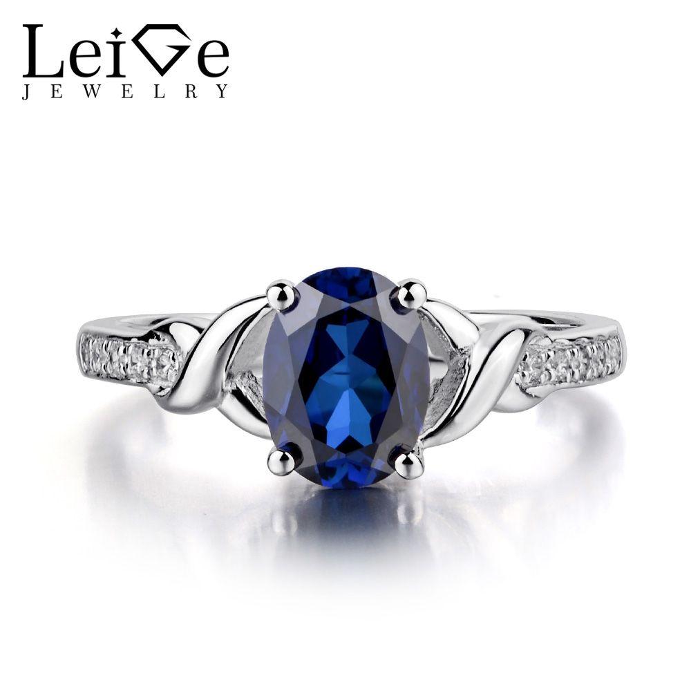 Leige Schmuck Ovale Sapphire Verlobungsring für Frauen 925 Sterling Silber Blauen Edelstein-ringe September Birthstone