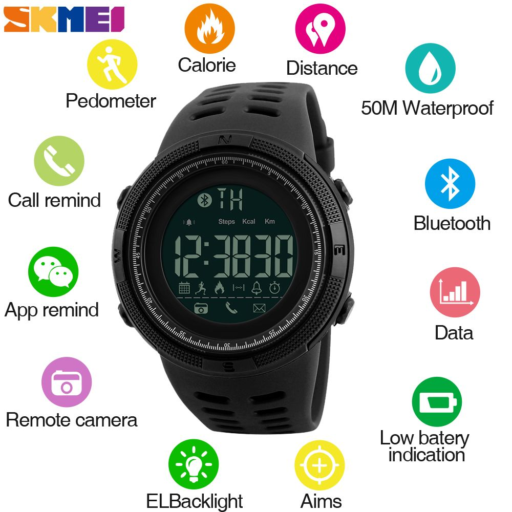 SKMEI Men Smart Watch Chrono Calories Pedometer Sports Watches <font><b>Call</b></font> Reminder Bluetooth Watches Relogios for ios android 1250