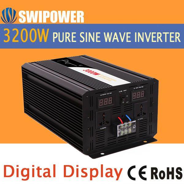 3200 w 3000 W pur puissance d'onde sinusoïdale onduleur solaire DC 12 V 24 V 48 V à AC 110 V 220 V affichage numérique