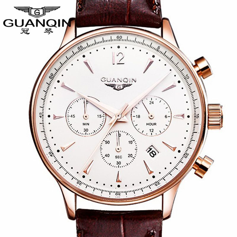 Watches Men Luxury Original Brand GUANQIN Sport Watches Men Fashion wristwatch Chronograph waterproof Male leather <font><b>Quartz</b></font> watch