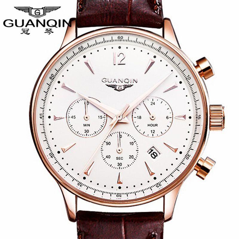 Watches Men Luxury Original Brand <font><b>GUANQIN</b></font> Sport Watches Men Fashion wristwatch Chronograph waterproof Male leather Quartz watch