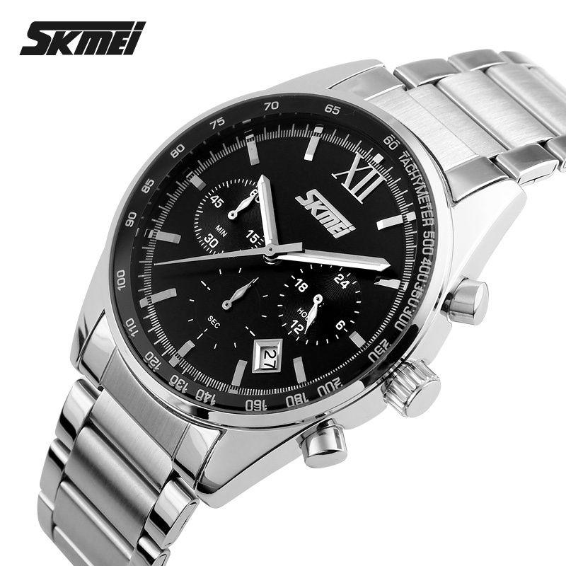 2017 montres hommes luxe Top marque SKMEI plein acier inoxydable affichage analogique mode hommes montre à Quartz sport décontracté