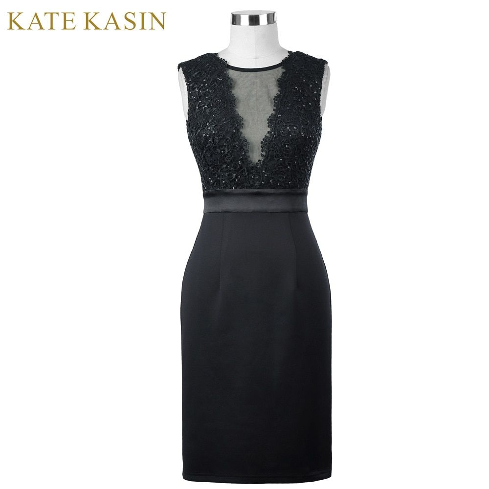 Kate Kasin Noir Court Robes de Cocktail 2017 Sexy V Cou dentelle Longueur Au Genou Femmes Robe De Bal Gaine Moulante Partie Formelle robes