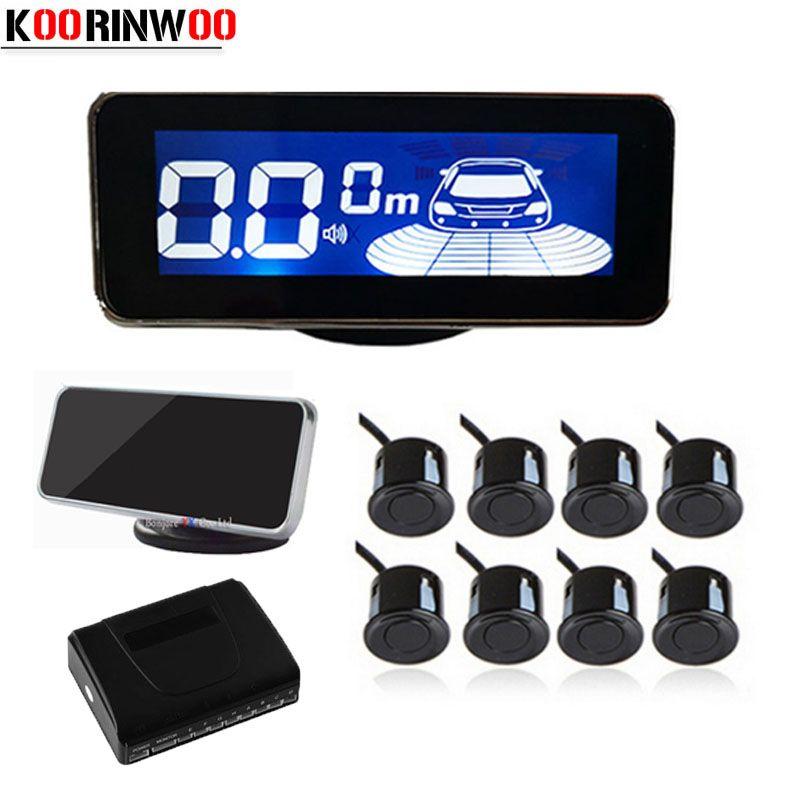Koorinwoo LCD Display Parktronic Car Parking Sensors 8 Radars Sound Alarm Probes Car-detector Car Parking Parkmaster Reversing