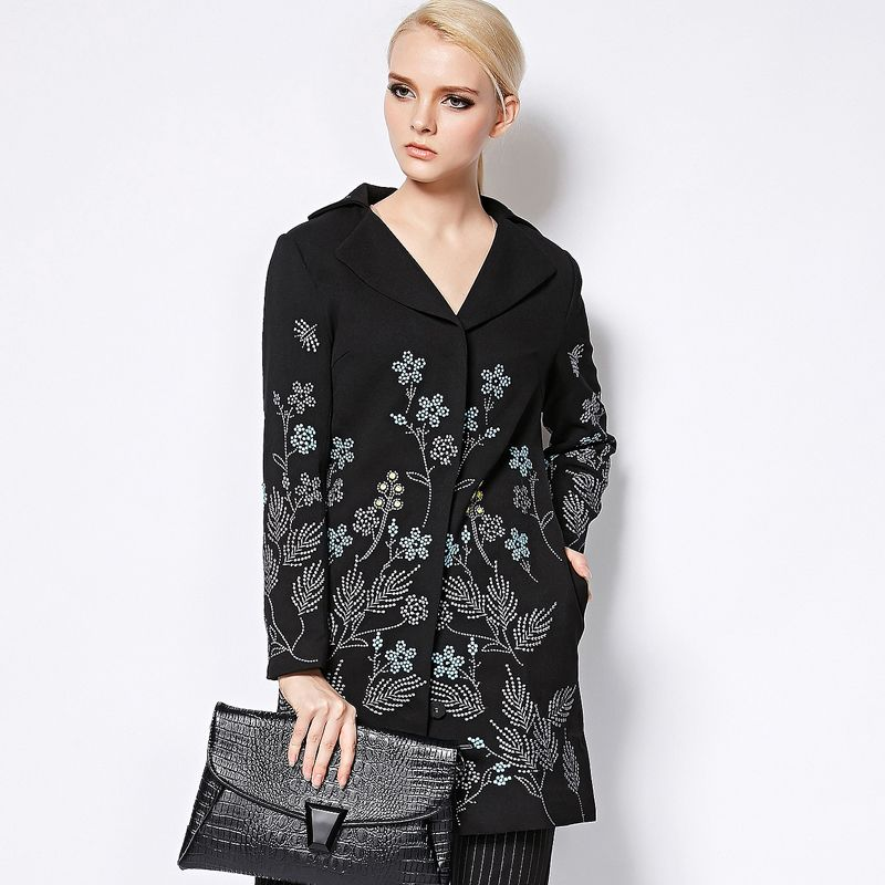Long Coat 2017 Autumn Winter New Fashion Good Women's Elegant Long Sleeve Small Flowers Embroidery Black Long Jakcet