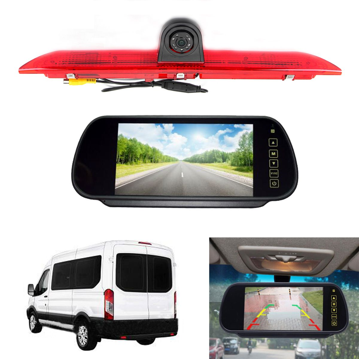 KROAK LED Brake Light IR LED Brake Light Rear View Reversing Parking Camera & 7 Inch Monitor Kit for FORD Transit 2014