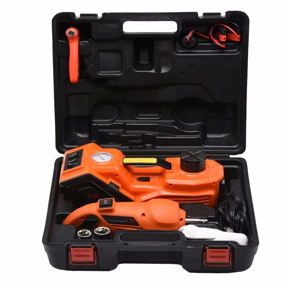 Fast Free shipping portable 3 functions electric hydraulic jack impact wrench and air compressor for Russian free tax