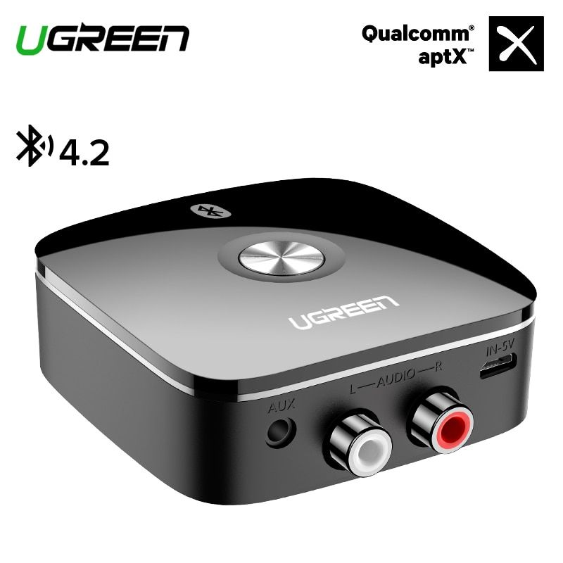 Ugreen Bluetooth RCA Receiver 4.2 aptX 3.5mm Jack Aux Audio Wireless Adapter Music for Headphone Car 2RCA Bluetooth Receiver 3.5