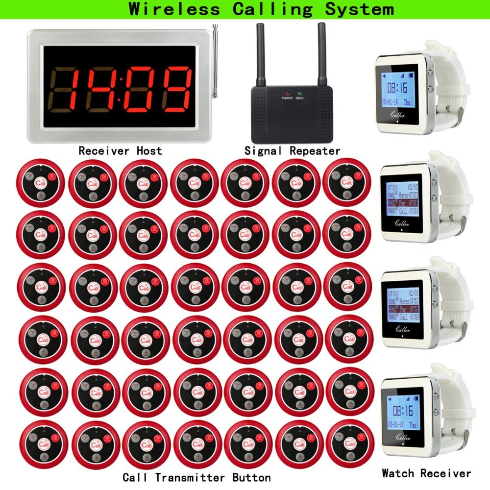Wireless Pager Calling System For Cafe Coffee Shop Receiver Host+4pcs Watch Receiver+Signal Repeater+42pcs Call Button F3290D