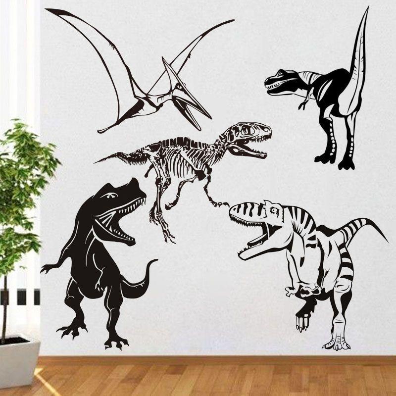 Dinosaure Sticker Mural Dino squelette Animal sauvage fossile Mural chambre Design motif garçon chambre enfants chambres animaux amovible stickers