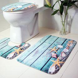 3 шт. коврики для ванной комнаты океан подводный мир Противоскользящий Набор ковриков для ванной коралловый флис напольный Туалет чехлы для...