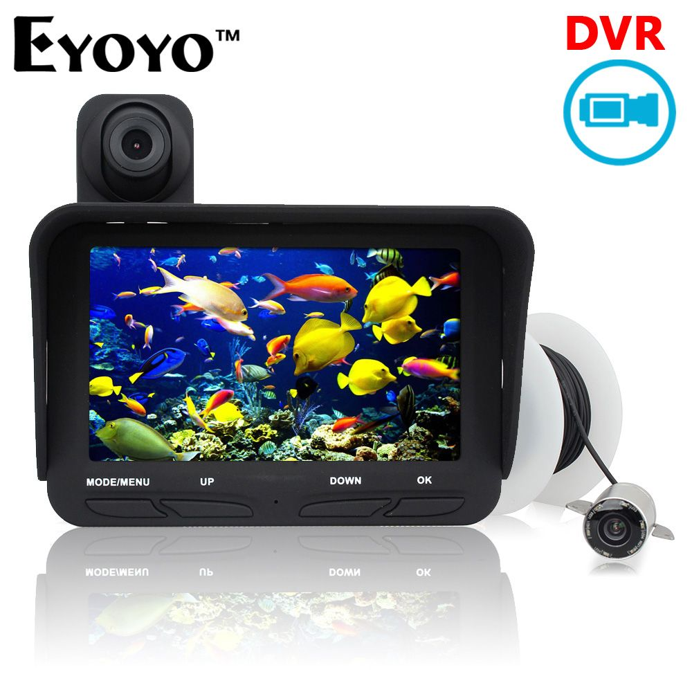 Eyoyo Original 20m Professional Night <font><b>Vision</b></font> Fish Finder DVR Video 6 Infrared LED Underwater Fishing Camera+Overwater Camera