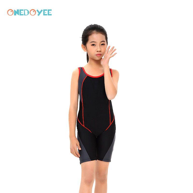ONEDOYEE Professionelle Mädchen Wettbewerb Badeanzug One Piece Bademode Kinder Trainings Bademode Racing Haifisch Knie Badeanzug