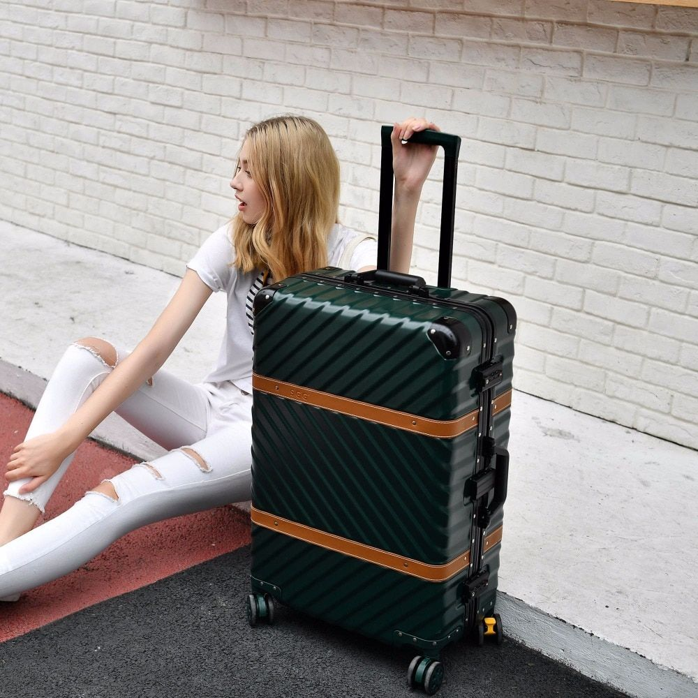 Hardside Rolling Luggage Carry On Suitcase 20 24 26 29 Checked Luggage Aluminum Frame TSA Luggage Travel Trolley Suitcase Wheels