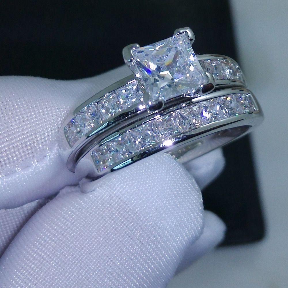 Choucong Wieck Wertvolle Prinzessin Cut AAA CZ Simulierte steine 10KT Weiß Gold Gefüllt Hochzeit Frauen Ring Set Geschenk Größe 5 -11