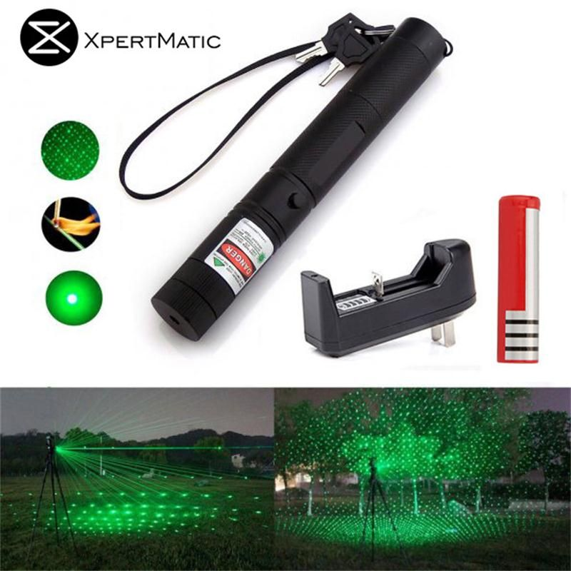 XpertMatic Military 532nm 5mw 303 Green verde Laser Pen Lazer Pointer Burning <font><b>Beam</b></font> Burn Match with 18650 Battery and Charger