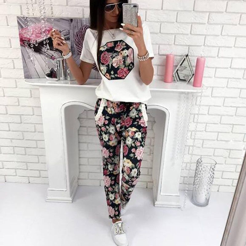 2Pcs New Hot Sale Casual Floral Print Women's Clothing Summer Short Sleeve T-shirt & Long Pants T-shirt  Women Clothes Set