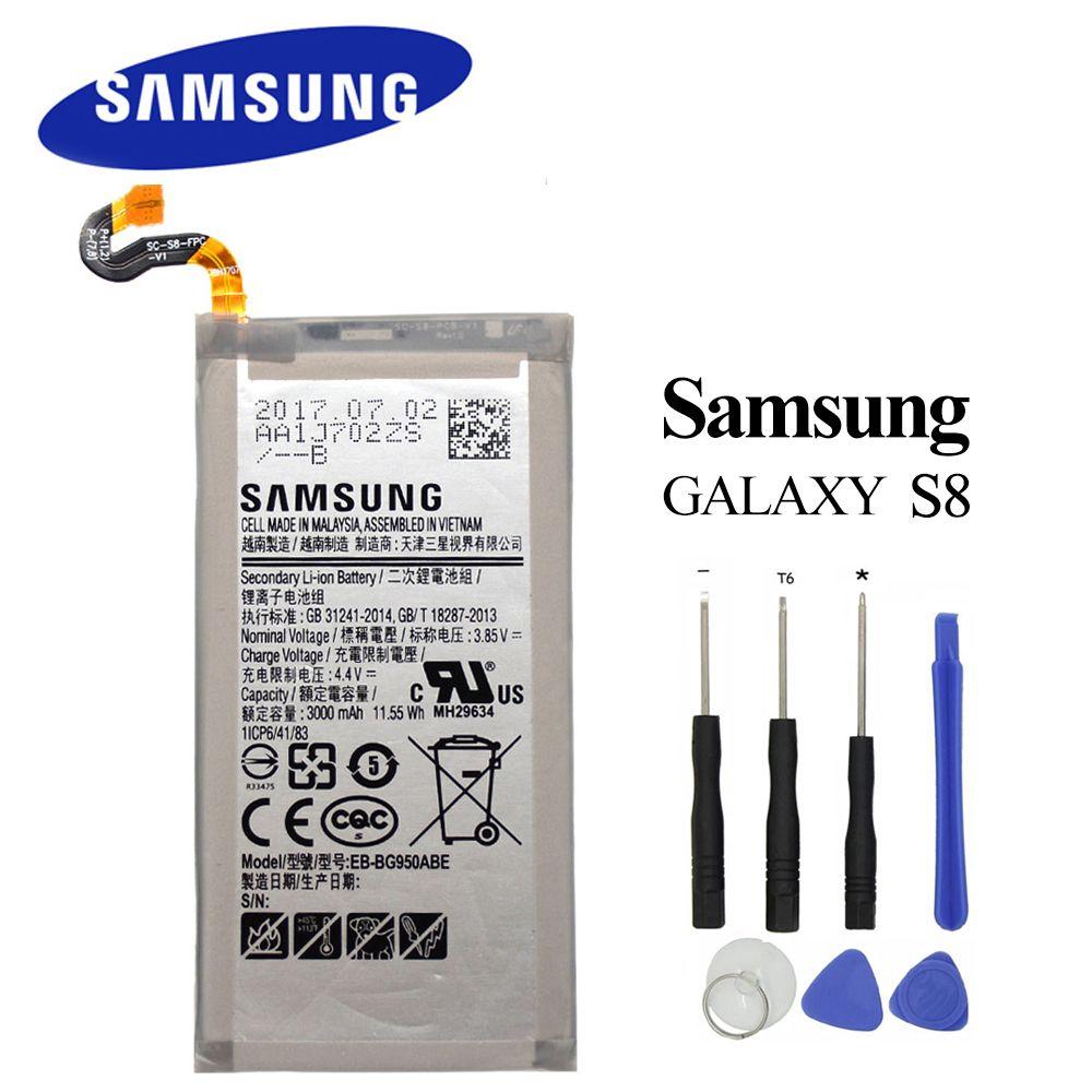 EB-BG950ABE Original Battery for Samsung Galaxy S8 SM-G9508 G9508 G9500 G950U G950F 3000mAh Akku+ Tools