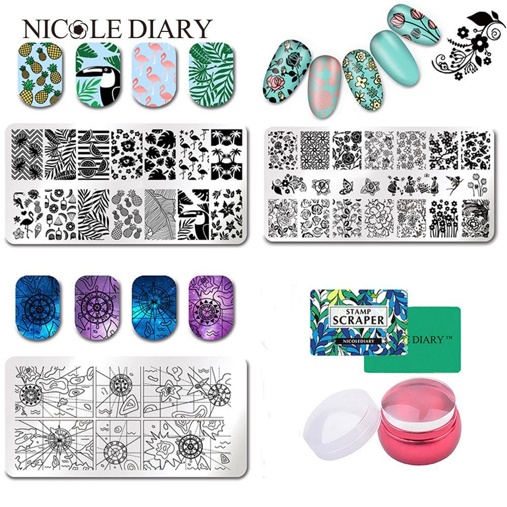 Фрукты лист Фламинго штамповка плиты прямоугольник Дизайн ногтей плиты изображения животных геометрия цветок Дизайн штамп шаблон