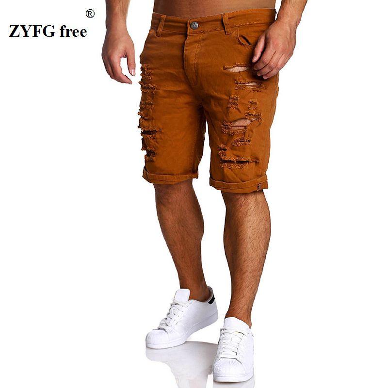 2019 Nouveaux Hommes de Mode D'été Shorts Veau-longueur Trou Shorts Coton Casual Hommes populaires Style longueur au genou Shorts mince Régulier