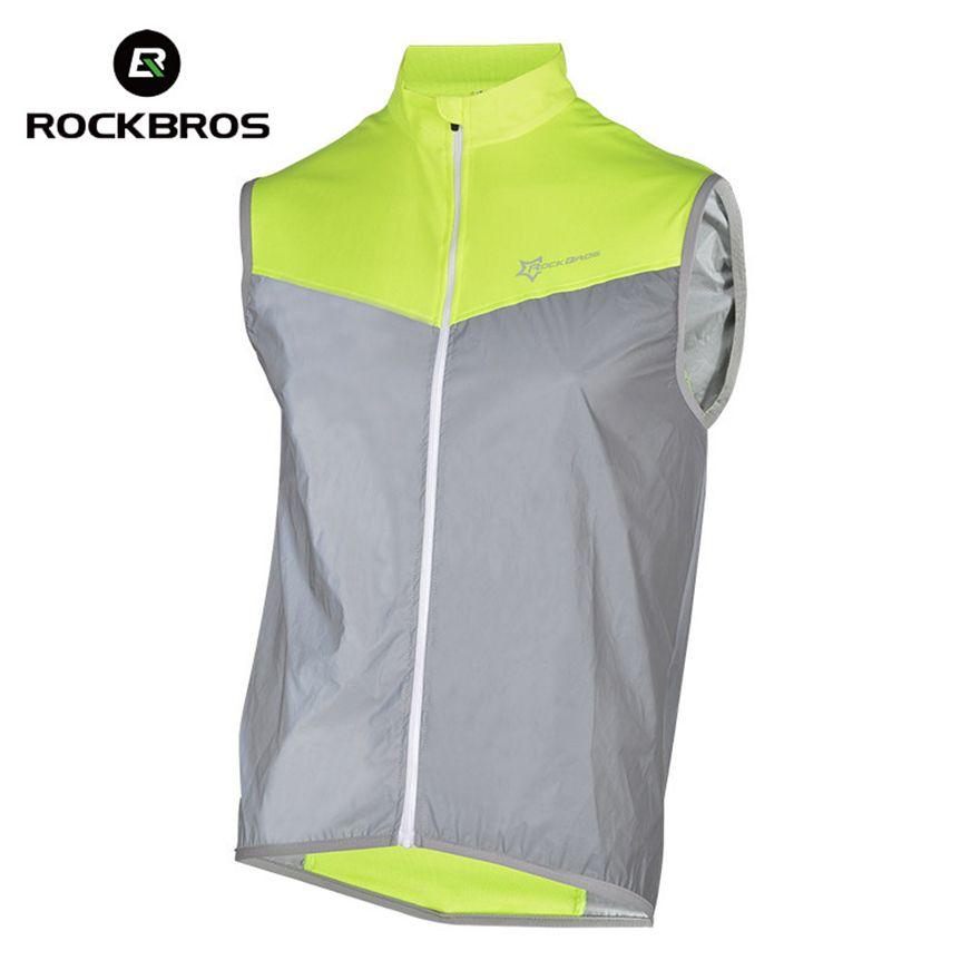 ROCKBROS Cyclisme Réfléchissant Gilets Sans Manches Coupe-Vent Vestes de Cyclisme Vélo Vélo top en jersey Cycle Vêtements Manteau de Vent