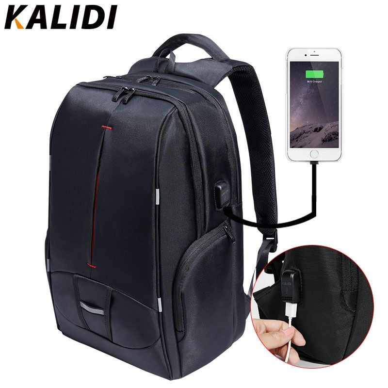 KALIDI 17 inch Waterproof Men Backpack USB Charging Travel School Backpack Laptop Backpack 15 inch to 17.3 inch Canvas Backpack