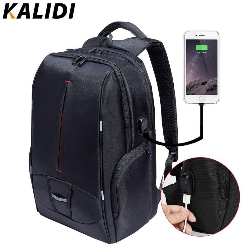KALIDI 17 inch Waterproof Men Backpack USB <font><b>Charging</b></font> Travel School Bag Laptop Backpack 15.6 to 17.3 inch Canvas Student Backpack