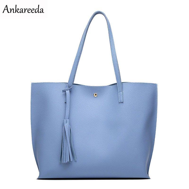 Ankareeda Luxury Brand Women Shoulder Bag Soft Leather TopHandle Bags Ladies Tassel Tote Handbag High <font><b>Quality</b></font> Women's Handbags