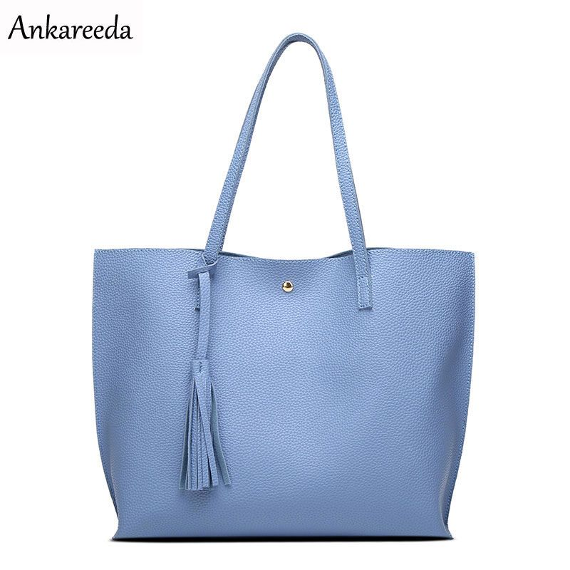 Ankareeda Luxury Brand Women Shoulder Bag Soft Leather TopHandle Bags Ladies Tassel Tote Handbag <font><b>High</b></font> Quality Women's Handbags