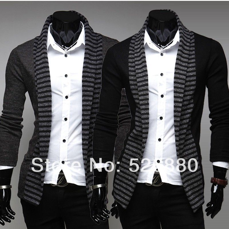 2018 new spring fashion color stripe cardigan  sweater Men's casual Slim Fit blusa masculina long-sleeved knitted sweater