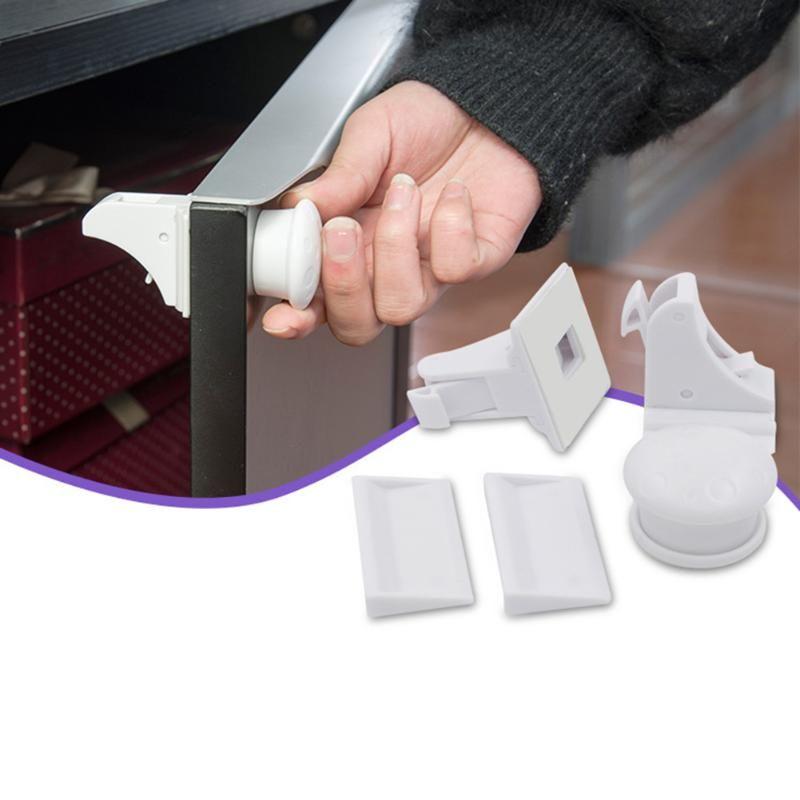 4 unids Blanco Magnética de Bloqueo para Niños de Seguridad Del Bebé Cerradura Del Gabinete de Seguridad para Niños Cerradura Del Cajón Muebles Protección del Recién Nacido