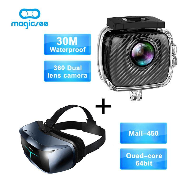 Magicsee P3 Acción Deporte cámara 360 Cámara Dual de la Lente caja a prueba de agua + Magicsee M2 todo en uno de Cuatro Núcleos VR Gafas 3D