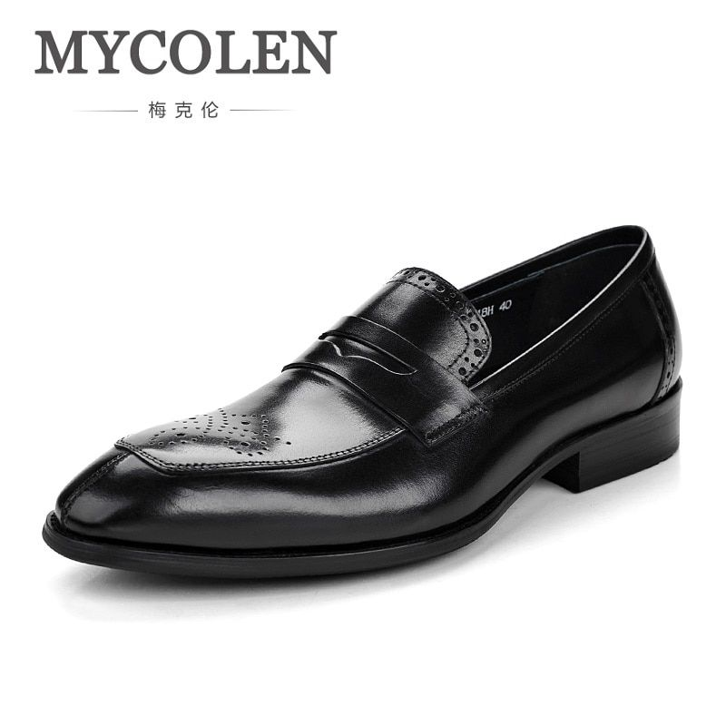 MYCOLEN 2018 NEW Brogue Men Shoes High Quality Pointed Toe Shoes Men Leather Dress Shoes Comfort Luxury Brand Man Shoes
