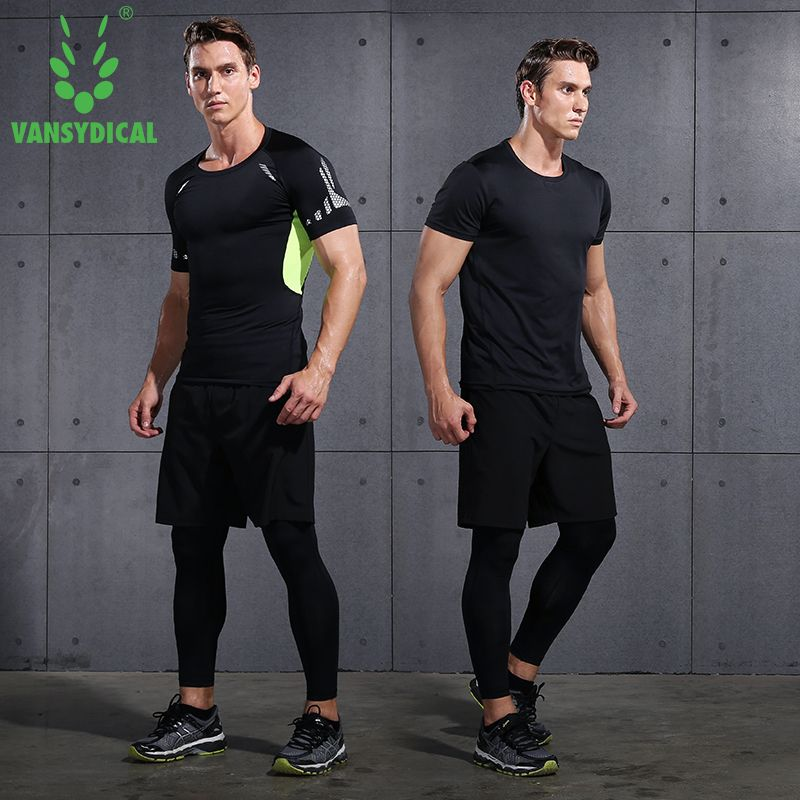 4pcs Vansydical New Men Compression Sport Suits Tights Running Tights Workout Fitness Training Shirts Pants Short Sleeves Shirts