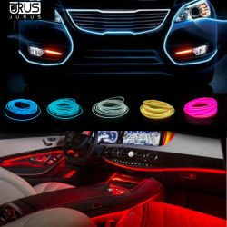 JURUS 2Pcs 1M/2M/3 Meter Flexible Neon Light Glow El Wire Car Auto Decoration Car Light Led Strip 12V Lamp Rope Salon Tube Line