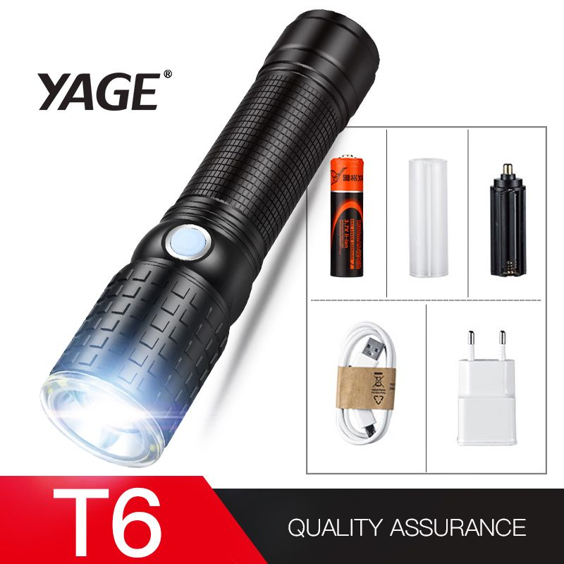 YAGE 341C Flashlight T6 2000LM Aluminum Zoom CREE LED Flashlight 18650 Lamp 6-Modes USB Tactical Torch Light (18650 Battery in)