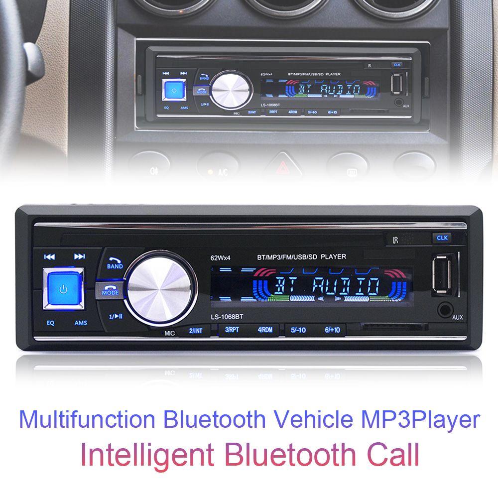 1068 1Din 12V Bluetooth Auto Car FM Radio Stereo Audio Player Support Handsfree Call AUX / MP3 / USB / SD Card + Remote Control