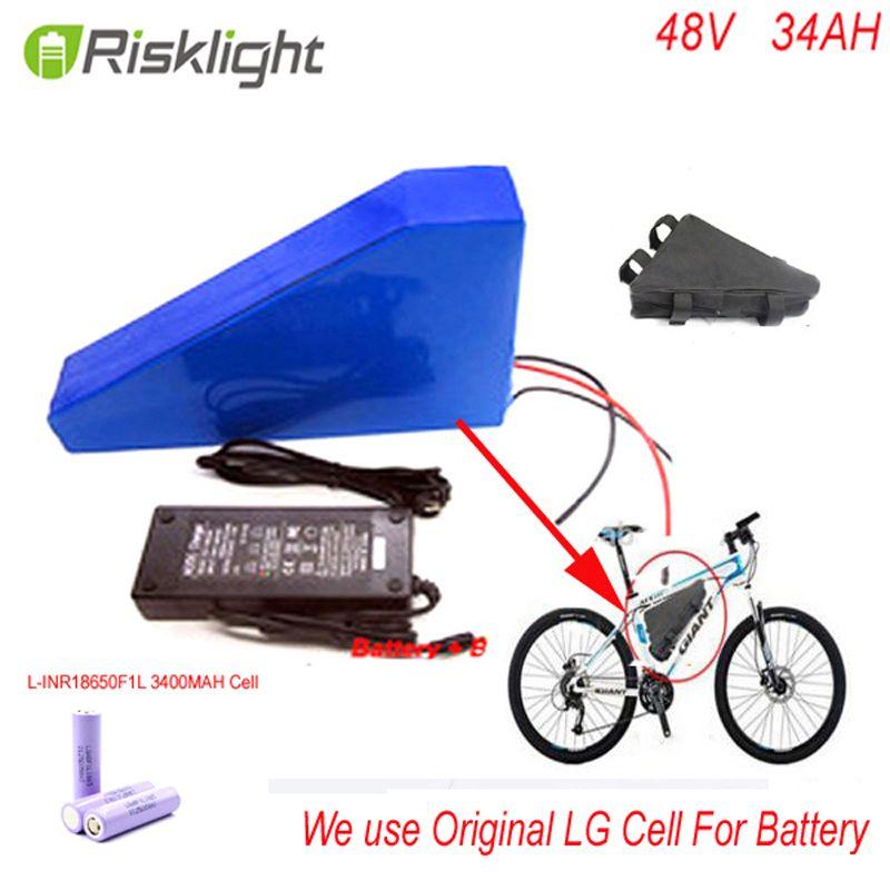 48 v 34ah dreieck lithium-batterie 48 v ebike batterie 48 v 1000 watt li-ion akku für elektrofahrrad für LG 18650 zelle