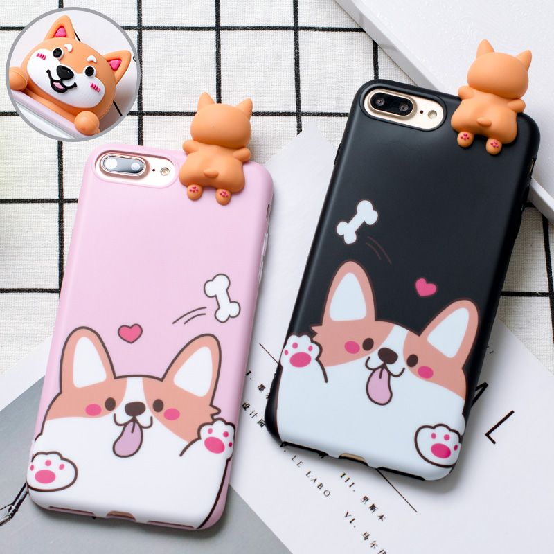 3D Welsh Corgi dog phone Cases For iphone 6 6s 6plus 7 7Plus Cute pet dog Toys soft silicon case for iphone 8 8plus back cover