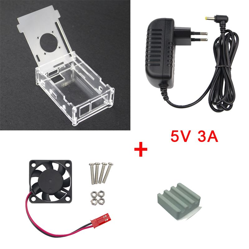 For Orange Pi PC Transparent Acrylic Case + 5V 3A DC Power Supply Adapter + Cooling Fan + Heat Sink Compatible Orange Pi PC Plus