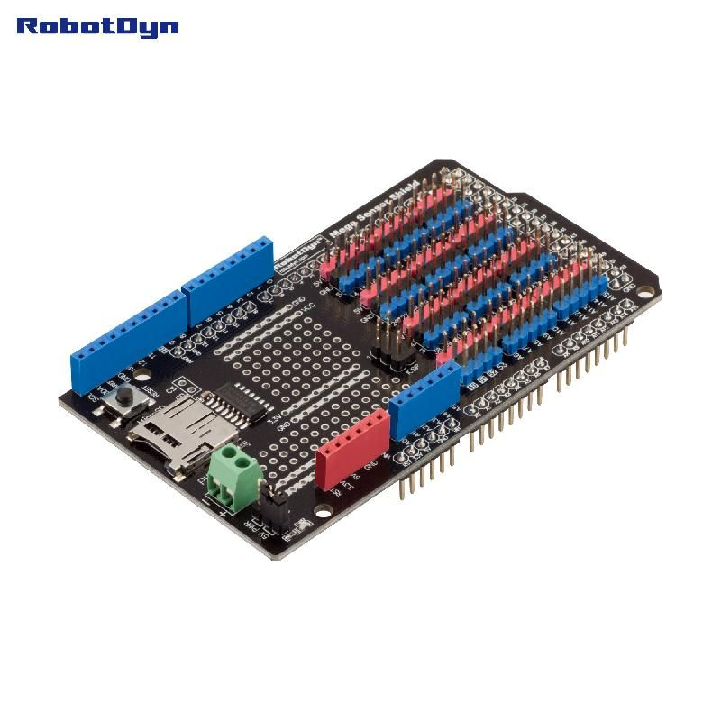 Sensor Shield for Arduino Mega 2560, with SD-card logger (Assembled)