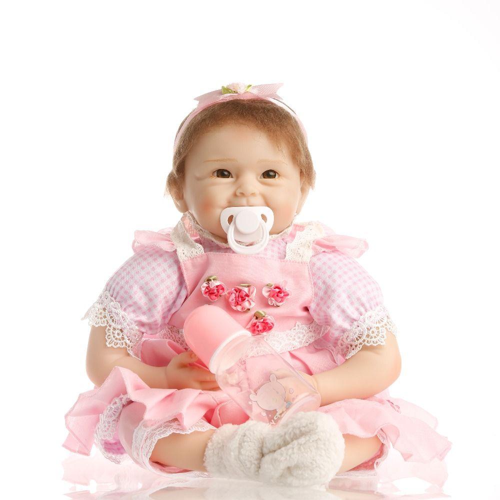 SanyDoll 22inch 55cm Realistic Reborn Baby Doll Hair Rooted Soft Silicone Lifelike Newborn Doll Girl XMAS Gift